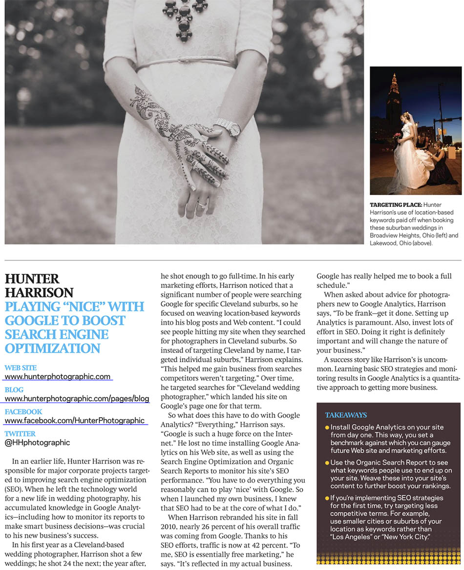Cleveland wedding photographer Hunter Photographic featured in PDN EDU magazine