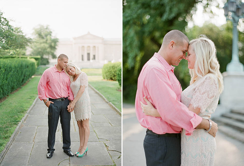 A summer evening engagement session at the Cleveland Museum of Art and Huntington Beach with Yvette and David.
