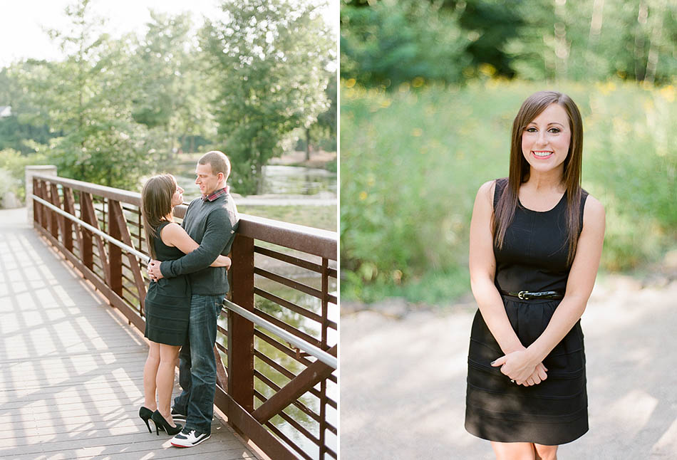 A summer sunset engagement session at Coe Lake captured on film with Sarah and Kyle