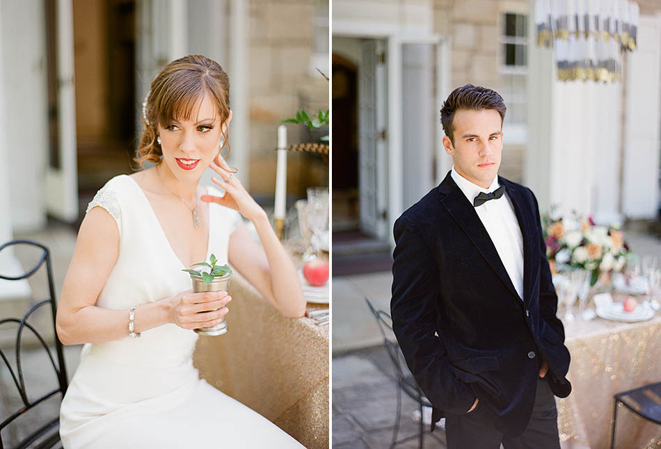 Holden Arboretum wedding inspiration featuring an art deco design and craft cocktails