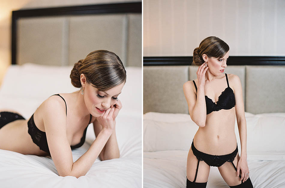 White Bride Black Boudoir editorial captured on film by Hunter Photographic.