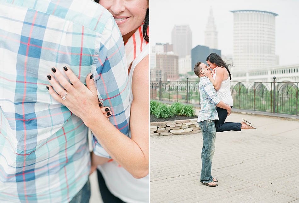 A downtown Cleveland engagement session in the summer sun with Tiffany and Rick