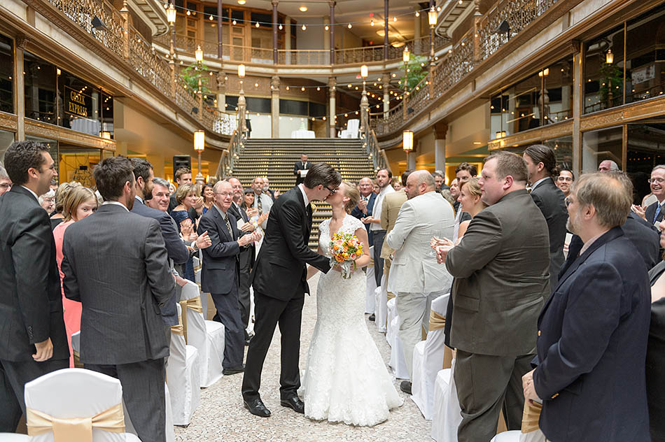 A Hyatt Old Arcade wedding in downtown Cleveland with Bailey and Walt