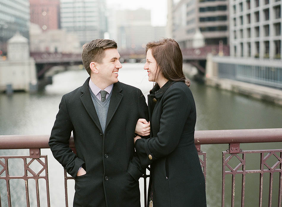 A winter Chicago engagement session in downtown with Katie and Brian