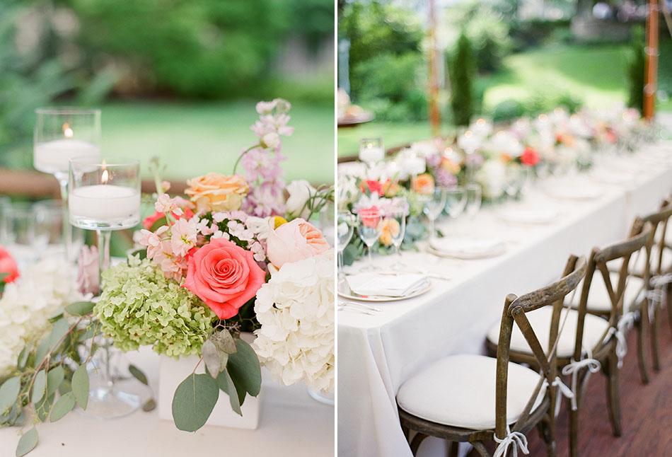 Backyard wedding reception in Shaker Heights, Ohio captured on film