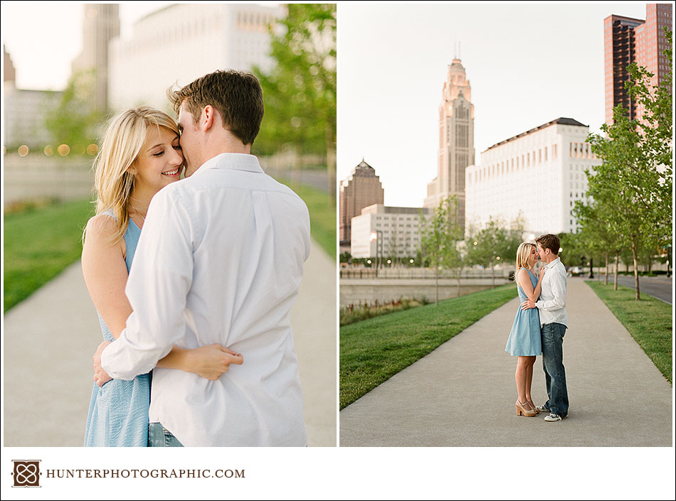 Alexis and Joe's summer evening engagement session in downtown Columbus