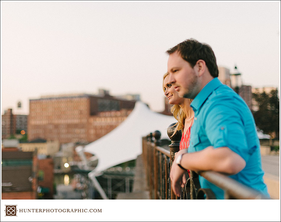 Carrie and Kevin's sunset engagement session in downtown Cleveland