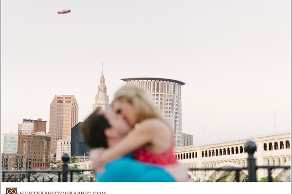Carrie & Kevin - A Sunset Engagement Session in Downtown Cleveland - with a Blimp