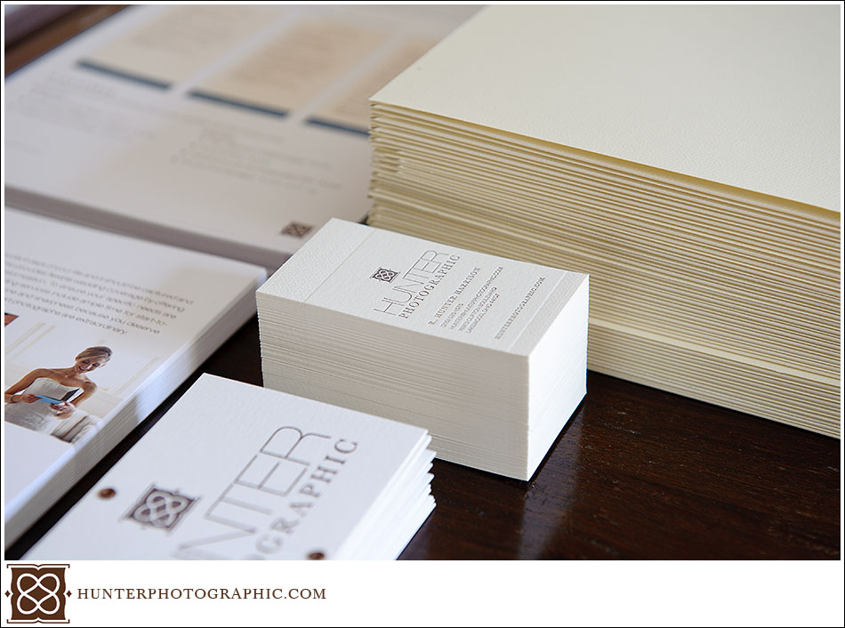 Branding materials for Hunter Photographic, a Cleveland wedding photographer