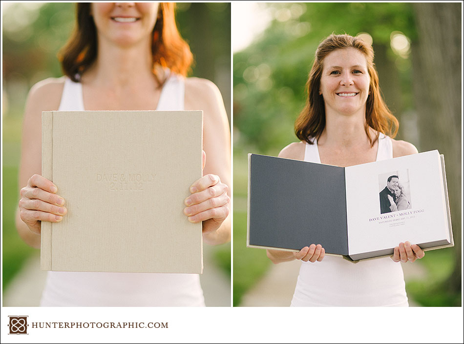 Molly and Dave's custom heirloom wedding album and proof presentation box