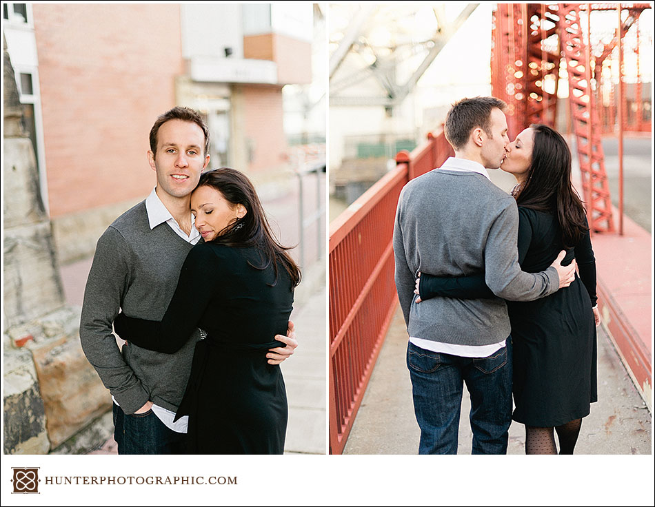 Didi and Henry - Golden Winter engagement photos in downtown Cleveland