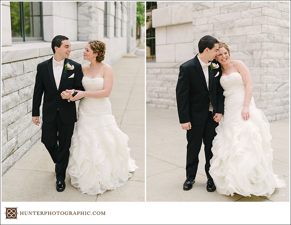 Joanna and David's first look at their Cleveland Arcade wedding