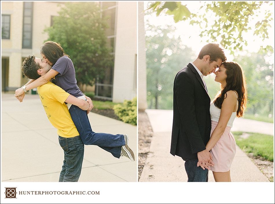 Laura and Joey's Kent State Engagement session by Cleveland wedding photographer Hunter Photographic.