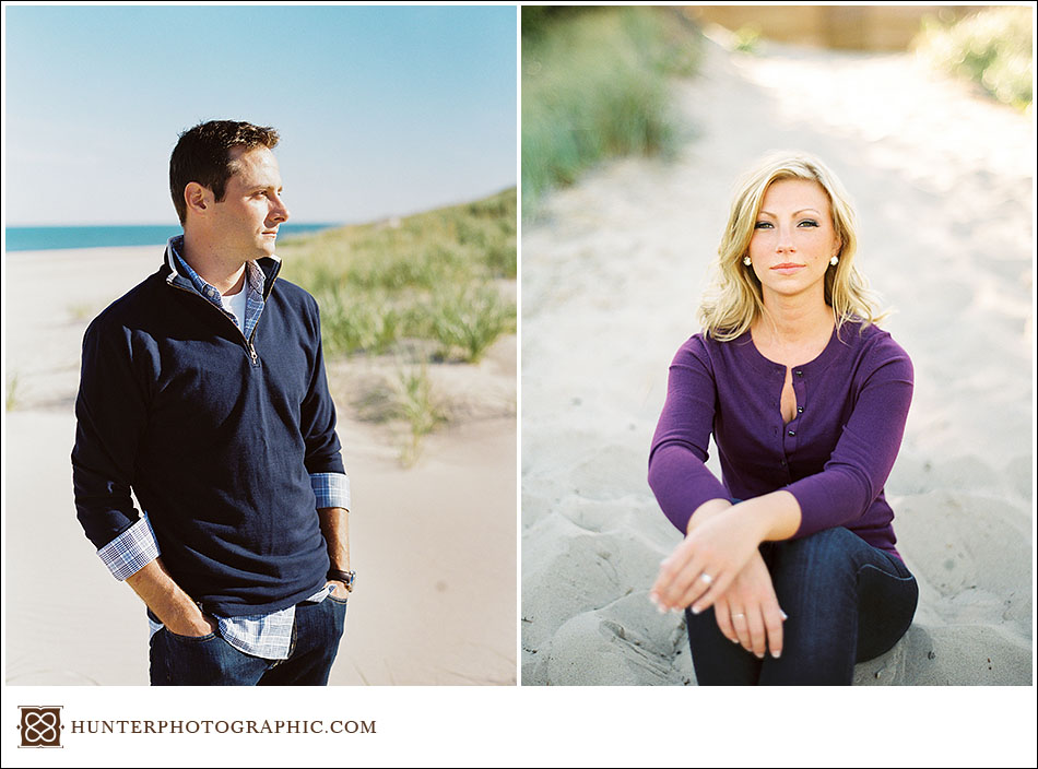 Destination engagement session in New Buffalo, Michigan captured on film