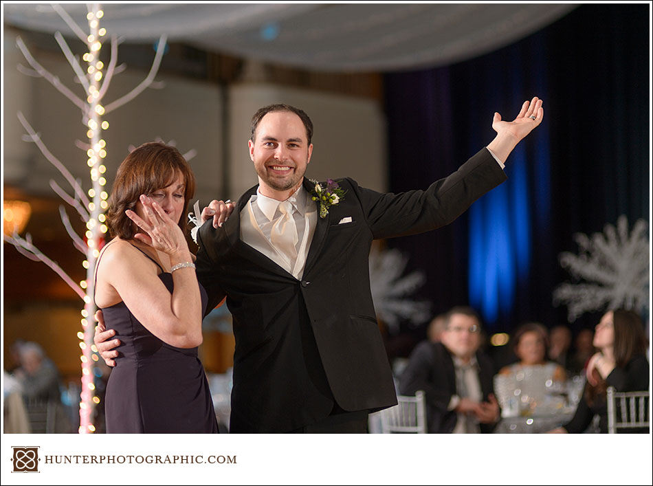 Sarah and Mike's winter wonderland wedding at the Cleveland Renaissance Hotel.