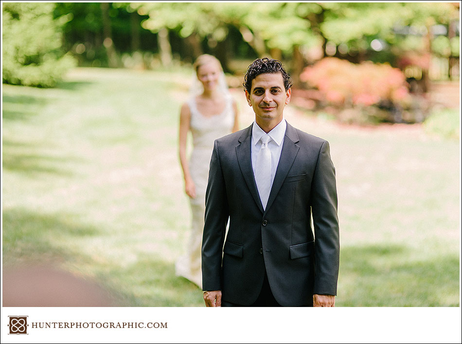 Laura and John's first look from their Egyptian wedding held in Cleveland